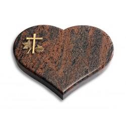 48 Grabstein Coeur/Twillight-Red (Bronze Kreuz 1)