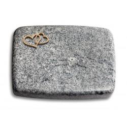 171 Grabstein Linea/Viskont White (Bronze Herzen)