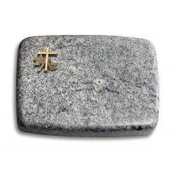175 Grabstein Linea/Viskont White (Bronze Kreuz 1)