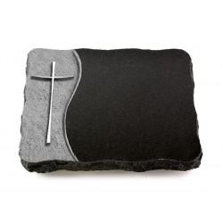 74 Grabplatte Wave/Indisch Black (Alu Kreuz 2)