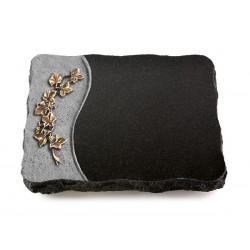 77 Grabplatte Wave/Indisch Black (Bronze Efeu)