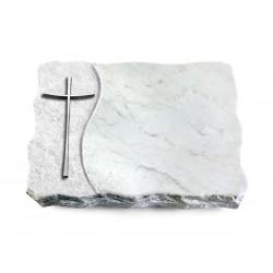 164 Grabplatte Wave/Marmor (Alu Kreuz 2)