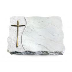 168 Grabplatte Wave/Marmor (Bronze Kreuz 2)