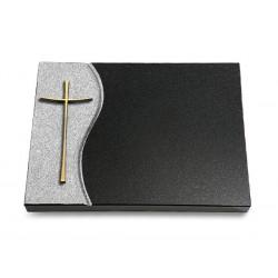 78 Grabtafel Wave/Indisch Black (Bronze Kreuz 2)