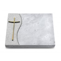 168 Grabtafel Wave/Marmor (Bronze Kreuz 2)